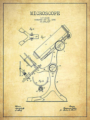 Biology Drawing - Microscope Patent Drawing From 1886 - Vintage by Aged Pixel
