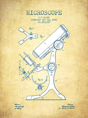 Microscope Patent Drawing From 1886 - Vintage Paper Art Print