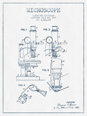 Microscope Patent Drawing From 1919 - Blue Ink Art Print