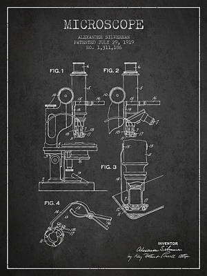 Biology Drawing - Microscope Patent Drawing From 1919- Dark by Aged Pixel
