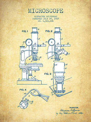 Microscope Patent Drawing From 1919- Vintage Paper Art Print by Aged Pixel