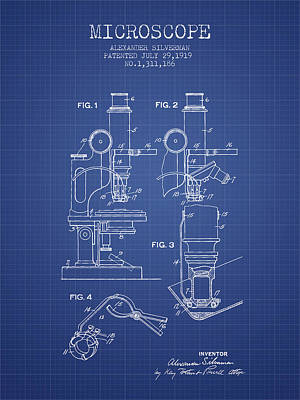 Microscopes Digital Art - Microscope Patent From 1919 - Blueprint by Aged Pixel