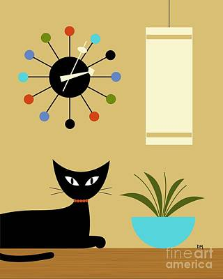 Cat Digital Art - Mid Century Ball Clock 2 by Donna Mibus