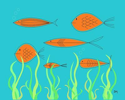 Eames Digital Art - Mid Century Fish 2 by Donna Mibus