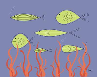 Eames Digital Art - Mid Century Fish by Donna Mibus