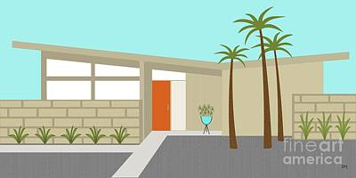 Retro Digital Art - Mid Century Modern House 1 by Donna Mibus