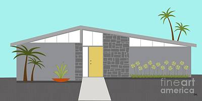 Mid Century Modern House 2 Art Print by Donna Mibus