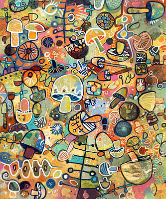 Abstract Pattern Painting - Mid Century Mushroom Madness by Jen Norton