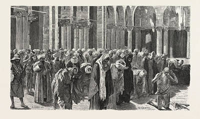 Prayer Drawing - Mid-day Prayer In Siout by Litz Collection