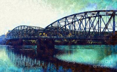 Mid-delaware River Bridge Art Print by Janine Riley
