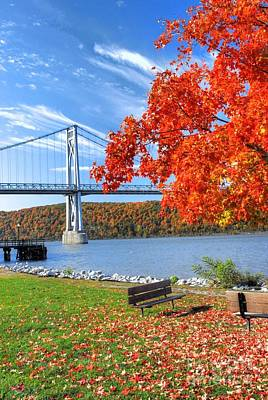 Mid Hudson Bridge In Fall Art Print by Linda Covino