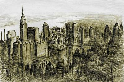Drawing - Mid Manhattan 76 - New York Art by Art America Gallery Peter Potter
