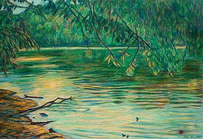Art Print featuring the painting Mid-spring On The New River by Kendall Kessler