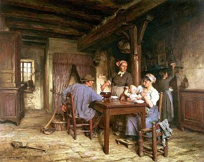 Midday Meal Art Print by Leon Augustin Lhermitte
