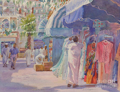 Souq Painting - Midday Prayer Call Jeddah by Dorothy Boyer