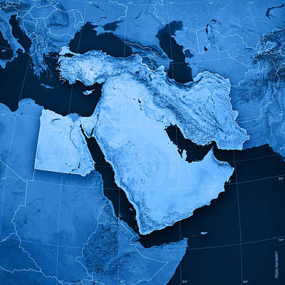 Blue Digital Art - Middle East Topographic Map by Frank Ramspott