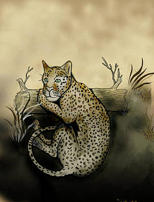 Gerald Griffin Digital Art - Middle Leopard Resting On Log by Gerald Griffin