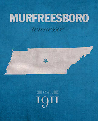 Tennessee Mixed Media - Middle Tennessee State University Blue Raiders Murfreesboro College State Map Poster Series No 065 by Design Turnpike