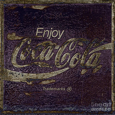 Coca-cola Signs Photograph - Midnight Amethyst Abstract Coca Cola Sign by John Stephens