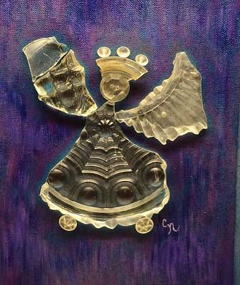 Reclaimed Glass Mixed Media - Midnight Angel by Carol Neal