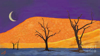 Sand Dune Digital Art - Midnight At The Oasis by Arne Hansen