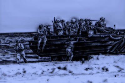 Skirmish Digital Art - Midnight Battle Hitting The Beach by Thomas Woolworth