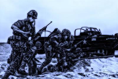 Skirmish Digital Art - Midnight Battle Let's Go Marines by Thomas Woolworth