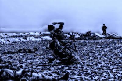 Midnight Battle Men Down Art Print by Thomas Woolworth