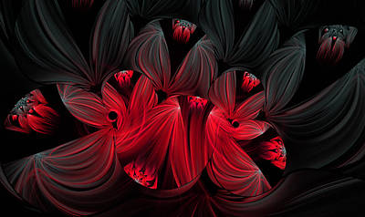 Digital Art - Midnight Blooms by Lea Wiggins