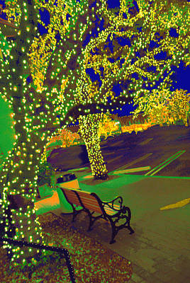 Midnight Lighting Highland Park Texas Original by ARTography by Pamela Smale Williams
