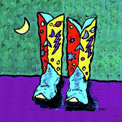 Painting - Midnight Cowboy Boots by Dale Moses
