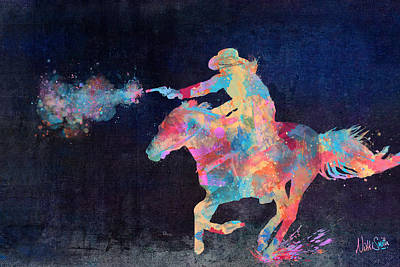 Multicolor Digital Art - Midnight Cowgirls Ride Heaven Help The Fool Who Did Her Wrong by Nikki Marie Smith