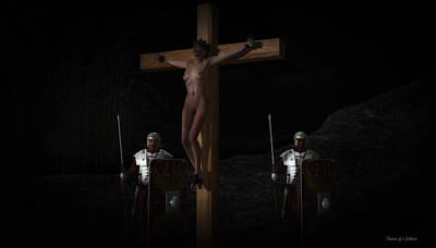 Midnight Crucifixion Print by Ramon Martinez