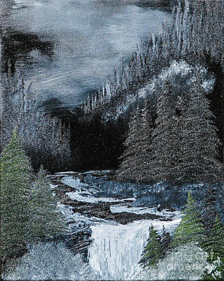 Sawtooth Mountain Art Painting - Midnight Falls by Dave Atkins