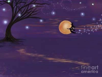Samhain Painting - Midnight Flight by Roxy Riou