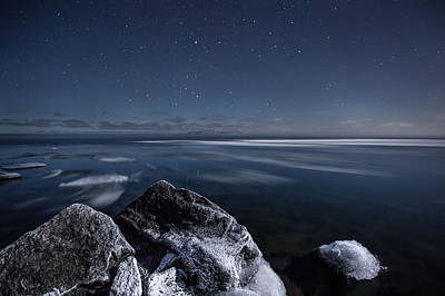 Silver Moonlight Photograph - Midnight Freeze At Silver Harbour by Jakub Sisak