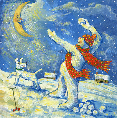 Snowball Fights Painting - Midnight Fun And Games by David Cooke