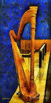 Midnight Harp Art Print by RC DeWinter