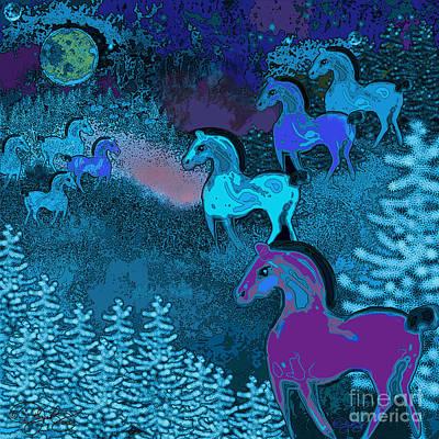 Digital Art - Midnight Horses by Carol Jacobs