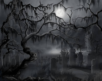 Midnight In The Graveyard  Art Print by James Christopher Hill