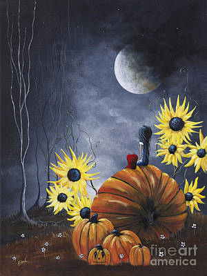 Creepy Painting - Midnight In The Pumpkin Patch By Shawna Erback by Shawna Erback