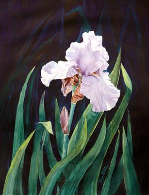 Wall Art - Painting - Midnight Iris by Karen Mattson