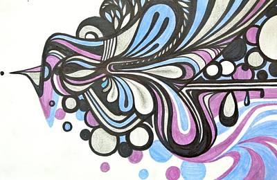 Abstract Shapes Drawing - Midnight by Jen Santa