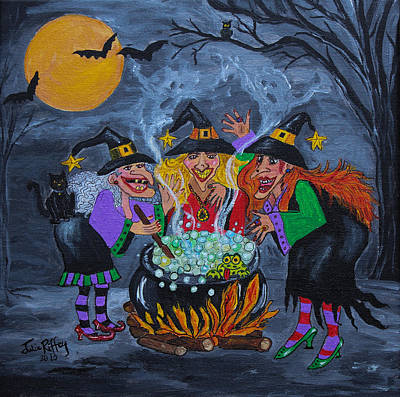 Midnight Magic  - Halloween Witches Original by Julie Brugh Riffey