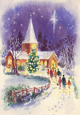 Snowy Night Painting - Midnight Mass Gouache by Stanley Cooke