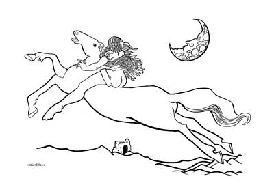 Man In The Moon Drawing - Midnight On Horseback by Ch' Brown