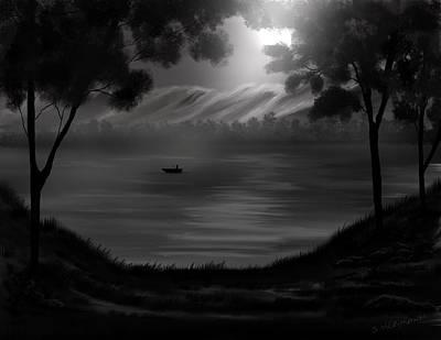Midnight On The Lake Art Print by Steve Hermann