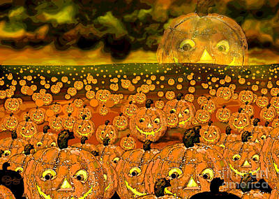 Digital Art - Midnight Pumpkin Patch by Carol Jacobs