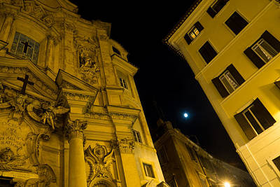Photograph - Midnight Roman Facades In Yellow  by Georgia Mizuleva