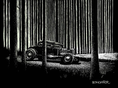 Old Car Drawing - Midnight Run by Bomonster